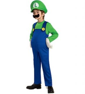Super Mario Bros Deluxe Luigi Costume Child Medium New