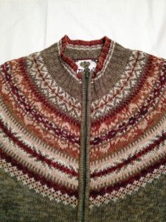Womens Fair Isle Cardigan Full Zip Sweater M Green Rust Fall