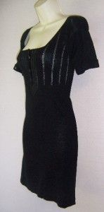 MSSP Black Short Sleeve Stretch Spandex Sweater Versatile Dress XS 0 2