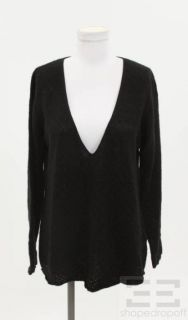 Lutz Patmos Black Cashmere V Neck Sweater Size L