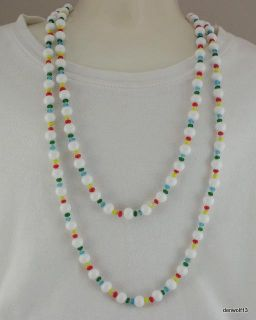 Glass Bead Flapper Necklace Red Blue Yellow Green Knotted 56 Vintage
