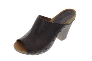 Nine West New Kerrie Lyn Brown Leather Studded Clogs Mules Heels Shoes