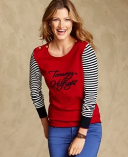 Tommy Hilfiger Sweater, Long Sleeve Striped Logo