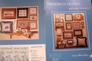 Pattern Counted Cross Stitch Homespun Country Hearts Sampler Amish