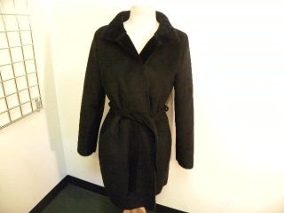 Kenneth Cole Black Faux Suede Coat with Tie M Nice