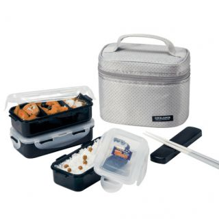 Lock Lock Square Gray Lunch Box Set Duo HPL754DG