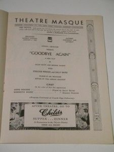 James Stewart Broadway Debut in Goodbye Again RARE Playbill 1933