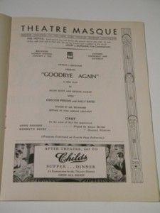 James Stewart Broadway Debut in Goodbye Again RARE Playbill 1933