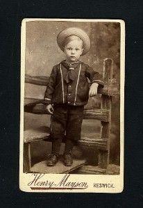 Vintage Young Boy Dressed as A Sailor Keswick UK Carte de Visite