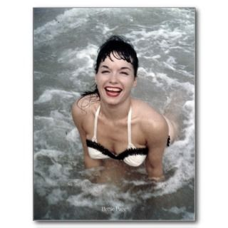 Bettie Page Playing in the Surf at the Beach postcards by bettiepage