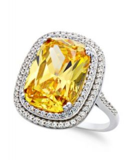 Yellow and White Swarovski Zirconia Cushion Cut Ring (13 3/8 ct. t.w