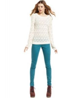 American Rag Long Sleeve Pointelle Knit Sweater & Skinny Colored Wash