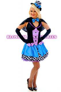 F85 Ladies Mad Hatter Fancy Dress Up Tea Party Alice in Wonderland