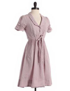 Maeve Mauve Striped Swiss Dot Dress with Pockets Sz 2 Purple A Line