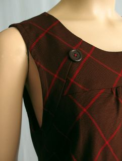 Maeve Anthropologie Mod Check Shift Dress Brown Red 8