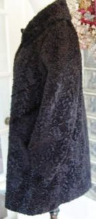 Vtg 60s Susan Lynne Black Curly Faux Fur Swing Coat M L