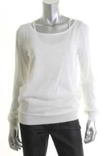 Anne Klein New Ivory Long Sleeve Scoop Neck Double Layered Pullover