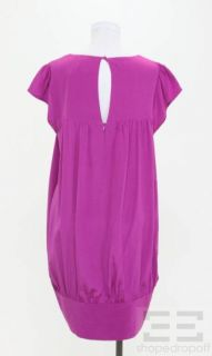 Madison Marcus Fuchsia Pink Silk Cap Sleeve Button Dress Size M