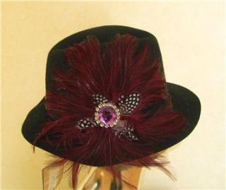 Nwt Magid Black Wool Felt Fedora Hat w Band and Feather & Jewel Stone