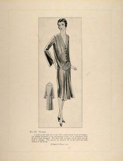 1926 Print Art Deco Fashion Dress Madeleine Vionnet Original