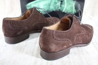 Magnanni Mens Mula Brown Suede Leather oxfords shoes size 44 (US 11) $