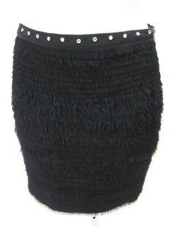 Madison Marcus Black Silk Fringe Mini Skirt Sz XS