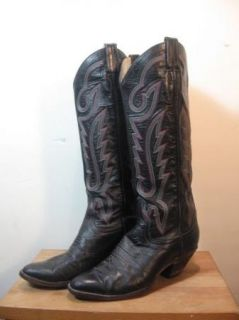Vintage Larry Mahan Black Leather Cowboy Boots Tall Size 8 8 5