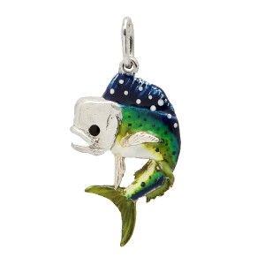 Sterling Silver Jumping Dolphin Mahi Mahi Full Color Fish Pendant