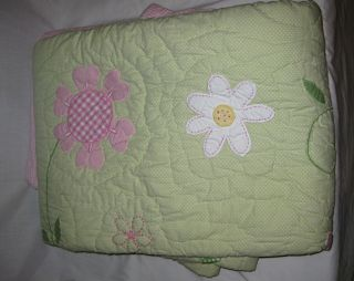 Pottery Barn Kids Green Addison Full Queen Quilt 2 Shams New