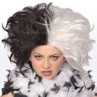 Cruella de vil Wig 101 Dalmatians Black White Halloween Costume