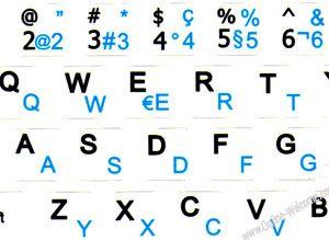 Swiss French English Netbook keyboard stickers White background