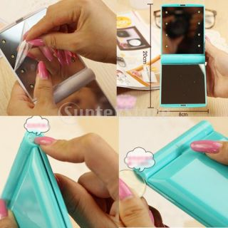 Pocket 8 LED Light Compact Mirror Makeup Woman Girl Cosmetic Handbag