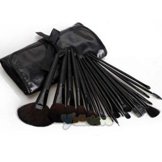 24pcs Makeup Cosmetic Brush Sets Kit Roll Up Case