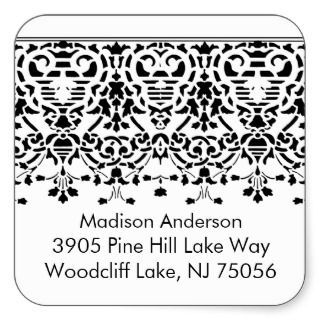 Elegant White & Black Damask Address Label Sticker