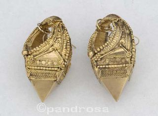 Old Ethnic Traditional Gold Earrings Kerala South India