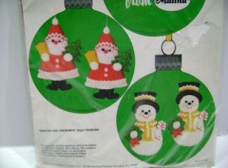 Vintage Malina Santas & Snowmen Felt Jeweled Sequin Christmas Ornament