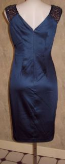 Maggy London New Navy Stretch Satin Sheath Bead Dress Sz 8 $169