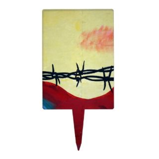 Abstract   barbed wire rectangular cake toppers