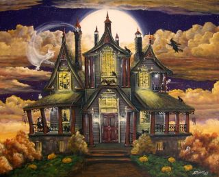 Halloween Art Haunted House Manor Ghosts Witches Skeleton Cats Byrum