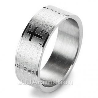 Mens Cross Stainless Steel Ring Silver VE111 Size 9 12