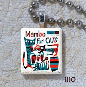 Mambo for Cats Retro Music Album Cover Scrabble Charm