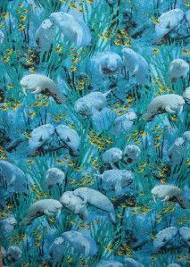 Ocean Manatees Fish Blue Green Cotton Quilt Fabric