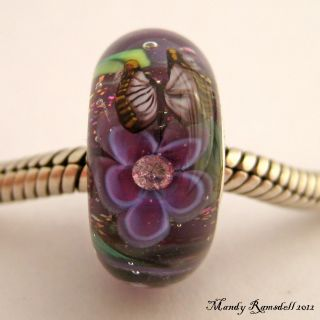 Butterfly Garden Sterling Silver Core European Charm Lampwork Glass