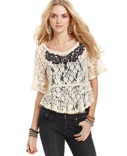 Free People Top, Short Sleeve Scoop Neck Lace Blouse   Womens Tops