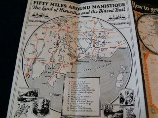 A2 Vintage 1930 40s Manistique Michigan MI Land Hiawatha Indian Travel