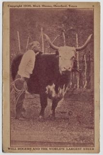 1936 Will Rogers and Worlds Largest Steer Hereford TX Texas SW of