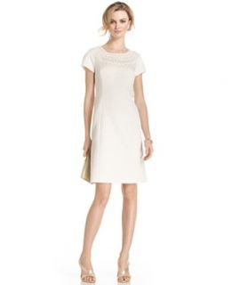 Jones New York Dress, Short Sleeve Crochet Jacquard Shift
