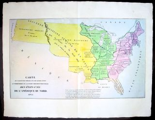 1825 Carey Lea Buchon Antique Map United States America