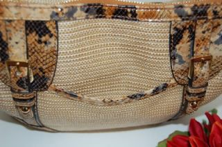 New B Makowsky Mansfield Natural Carmel Python Snake Leather Tote Hobo