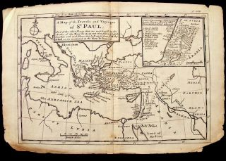 1739 Moll Map Travels Voyages of St Paul Jesus